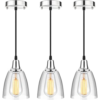 3-Pack Glass Pendant Lighting Kitchen Island, Mini Hanging Light Fixtures Brushed Nickel, Adjustable Modern Edison Ceiling Pendant Light for Kitchen Dining Room Hallway Hotel Restaurant