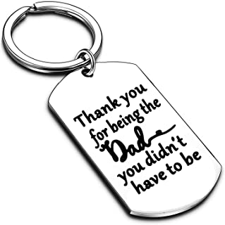 Stepdad Gifts from Stepdaughter Stepson Step Dad Keychain Key Tags Father's Day Gifts for Stepfather Father in Law from Da...