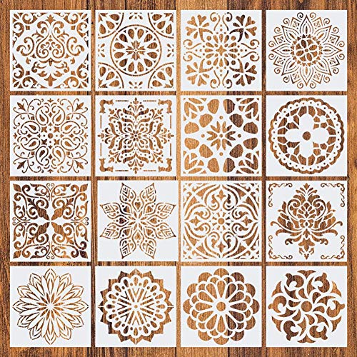 domiluoyoyo 16 Unids Mandala Stencil Mandala Dot Painting Tools Rock Painting Supplies DIY Plantillas de Pintura Madera Vidrio Tela Paredes de Metal