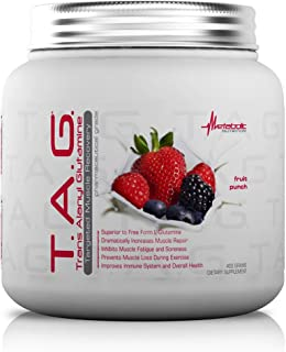 Metabolic Nutrition, TAG, Trans Alanyl Glutamine, 100% L-Glutamine Peptide Powder, Pre Intra Post Workout Supplement, Fruit Punch, 400 Grams (40 Servings)