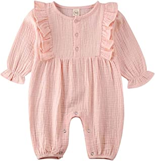 Newborn Baby Girls Romper Infant Long Sleeve Knitted Ribbed Bodysuit Jumpsuit Pajamas Outfits