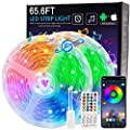 65.6ft LED Light Strips,20m RGB Flexible Music Sync Color Changing APP Control Bright 5050 LEDs Tape Lights with Remote for Home Lighting, Kitchen,Bedroom, TV, Ceiling, Cupboard,Bar Decoration