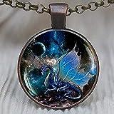 Colgante de dragón azul, collar de dragón azul, joyería de dragón, collar espacial, nebulosa, joyería de alas de dragón