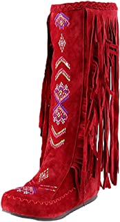 Winter Knee High Boots for Women Moccasins Embroidered Fringed Booties Flats Suede Long Snow Boots
