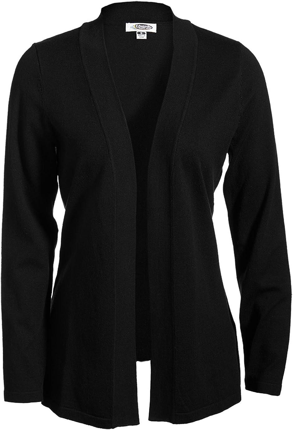 Edwards Garment Black Women's Open Front Cardigan, Size: XL