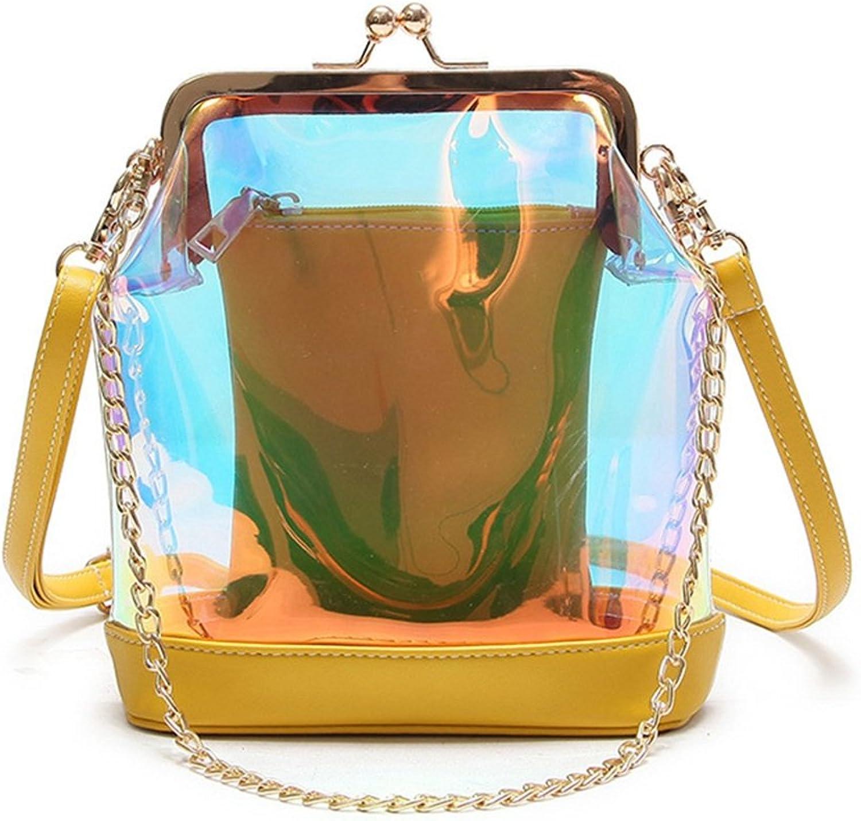 Yamyannie Damen Mini Mini Mini Handytasche Einfache Retro Transparente Reißverschluss Schultergurt Eimer Umhängetasche Messenger Tasche, gelb Umhängetasche B07HW4LXV6  Direktgeschäft b29ddc