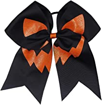 "Double Joyous 7"" Halloween Grosgrain Ribbon Pinwheel Boutique Hair Bows Clip For Girls Kids"