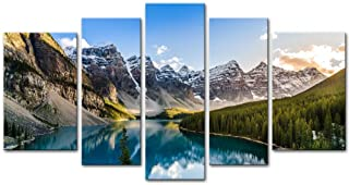 Wall Art Decor Poster Painting On Canvas Print Pictures 5 Pieces Moraine Lake And..