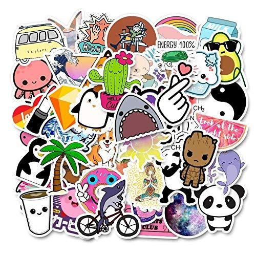 Yixing 50 unidades de pegatinas VSCO para niñas, resistentes al agua, para maletas, portátiles, guitarras, monopatines, dibujos animados (color: 50 Summer C)