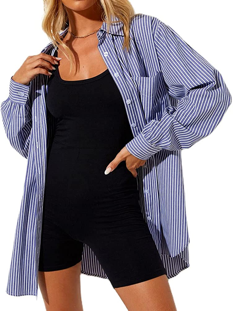 Women Girl Casual Loose Oversized Collar Long Sleeve Button Down Shirts Solid Striped Plaid Print Fashion Blouse Tops