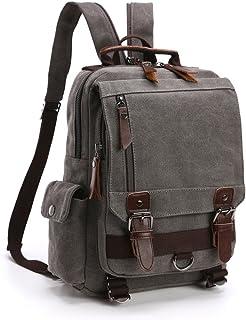 Mochila Hombres Mujer Lona Bolso de Bandolera La Bolsa de Mensajero Bolsa de Lona Bolsa de Hombro Messenger Bag Backpack. (Gris)