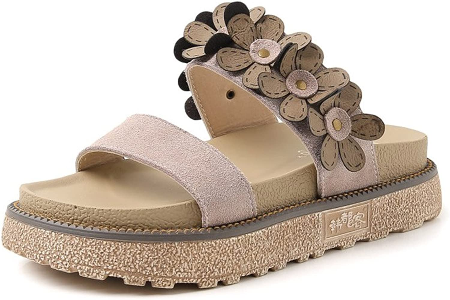 Kyle Walsh Pa Women Sandals-Casual Rome Flowers Platform Espadrille Slide Beach Pool Lounging Slipper Slip-On shoes