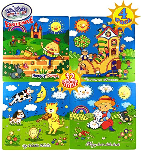 Matty's Toy Stop Deluxe Nursery Rhymes Wood Peg Puzzles (8pcs Each, 32 Total) Humpty Dumpty, There was an Old Woman, Hey Diddle Diddle & Mary Had A Little Lamb Complete Gift Set Bundle - 4 Pack