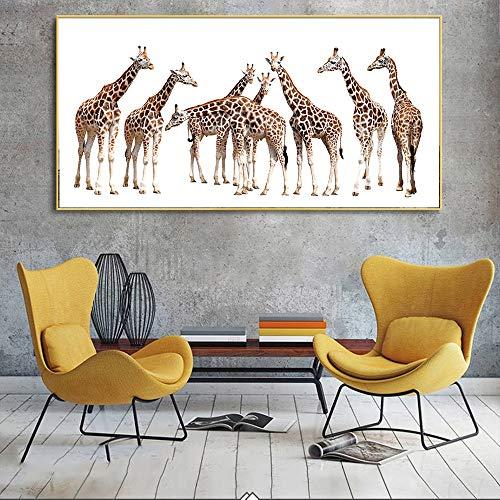 BailongXiao Lienzo Pintura Sala de Estar con Lienzo Pintura Animal Lienzo Arte,Pintura sin Marco,60x120cm