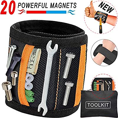 Magnetic Wristband,Magnetic Tool Belt,New Upgraded with 20 NdFeB Magnets & 2 Pockets, For Holding Screws,Nails,Bolts,Bashers,Drill Bits&Non-Magnetic Items,Best Gifts Tool,Handy Gadget.(Black&Aurantia) from YSEN