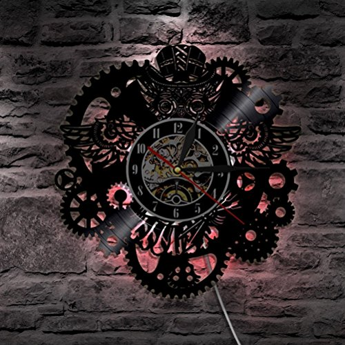 GuoEY Schallplatte Wanduhr mit LED-Hintergrundbeleuchtung modernes Design Creative Zahnrad Uhren 3D-Dekorative Klassik CD-Wand Watch Home Decor