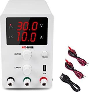DC Power Supply Variable 3 Digital LED Display Adjustable Regulated Switching Power Supply Digital with Leads Power Cord (30V 10A)