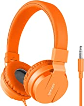 Kids Headphones, gorsun Lightweight Stereo Portable Wired Headphones for Kids Adults Adjustable Headband Headset for Cellphones Smartphones iPhone Laptop Computer Mp3/4 Earphones(Orange)