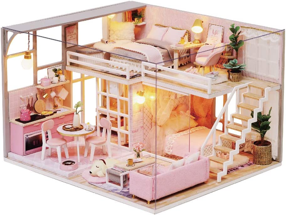 MAGQOO 3D Wooden Dollhouse Max 69% San Francisco Mall OFF Miniature Kit with Furnitur DIY House