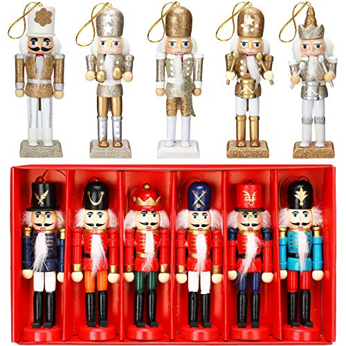 WILLBOND 11 Pieces Christmas Nutcrackers Ornaments Set, Glittery and Wooden Soldier Puppet Toys Nutcracker with Opening Mouth for Christmas Tree, Shelves Tables Decor, Xmas Hanging Decorations