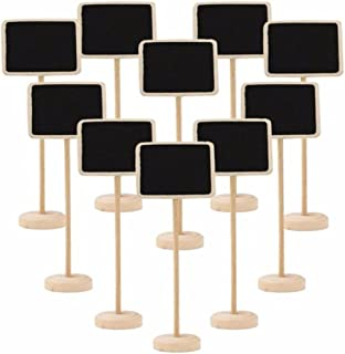 TRIXES 10PCS Rectangle Table Chalkboards on Stand Rustic Decorative Table Placemats for Weddings and Dinner Parties