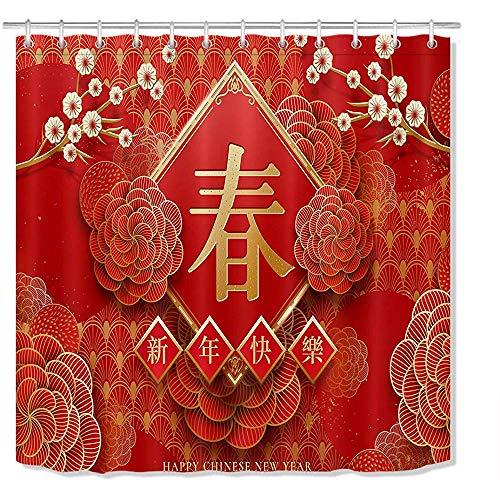 Gelukkig Chinees Nieuwjaar Douche Gordijn 3D afdrukken Rood Goud Chinese Letter Met Bloemen Lente Festival Douche Gordijn Stof Met Haken, W122 X H183 CM/48X72 Inch