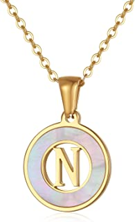 18K Gold Plated Initial Letter Necklace in Stainless Steel for Women, Dainty 26 Alphabet A to Z Pendant Necklaces Teen Gir...