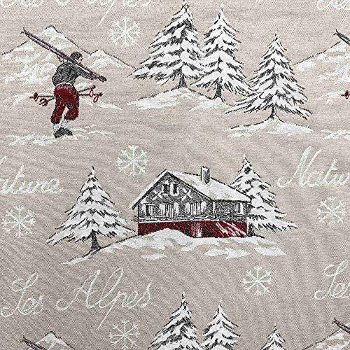 Kt KILOtela Tela de tapicería Navidad - Jacquard Gobelino - Retal de 100 cm Largo x 140 cm Ancho | Esquiadores, Les Alpes - Beige, Rojo ─ 1 Metro