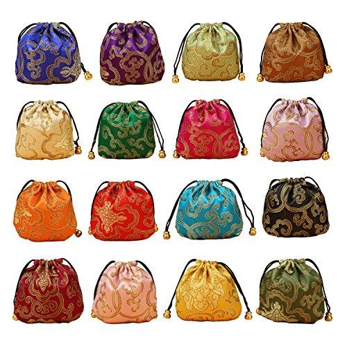 32pcs seda brocado Monedero cordón bolsa de joyas bolsa de regalo juego de valor
