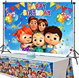 Cartoon Family Backdrop and Tablecloth for JJ Melon Birthday Party Supplies, Photography Background Banner with Disposable Table Cover for Baby Shower Kids Party Decorations 5x3FT