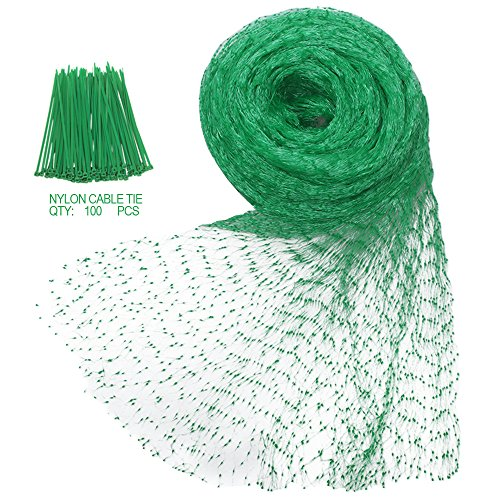 Heqishun Anti-Bird Netting 33Ft x 13Ft Nylon Woven with 100Pcs Nylon Cable Ties Garden Farm Plants Fencing Mesh Fruits Protector Durable Fish Ponds Cover Green