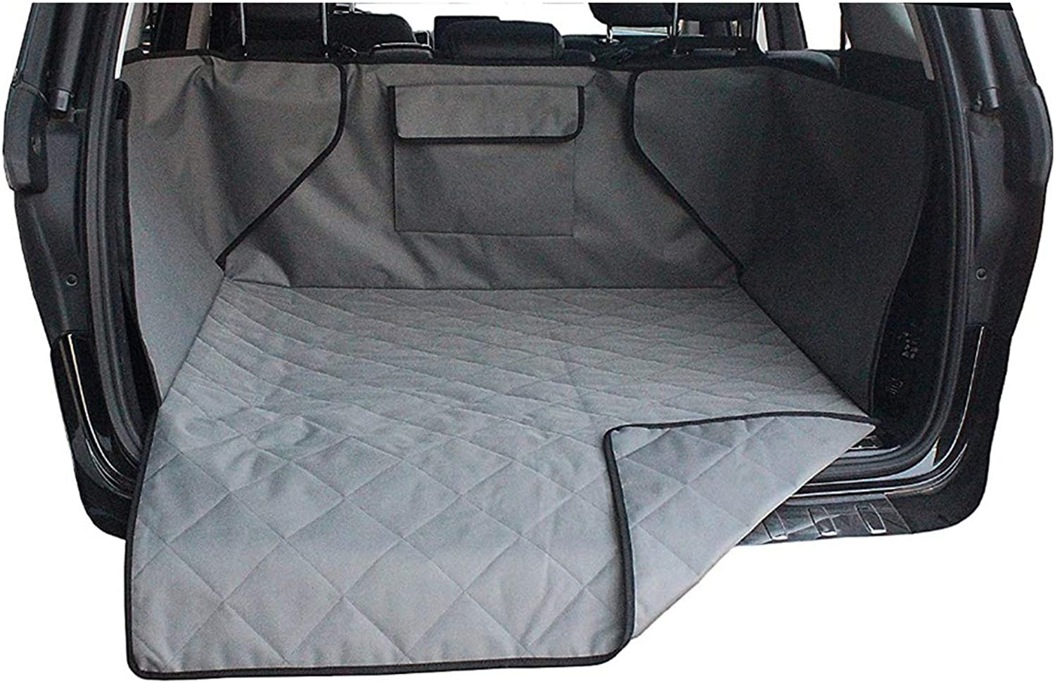 Queenbox Waterproof Quilted Cargo Pet Cover & Predector, Non Slip Backing Cargo Liner Cover for SUVs and Cars, Grey
