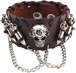 Cyndie Unisex Retro Fashion Bullet Skull Bracelet Punk Rock Leather Chain Hand Chain Ornament