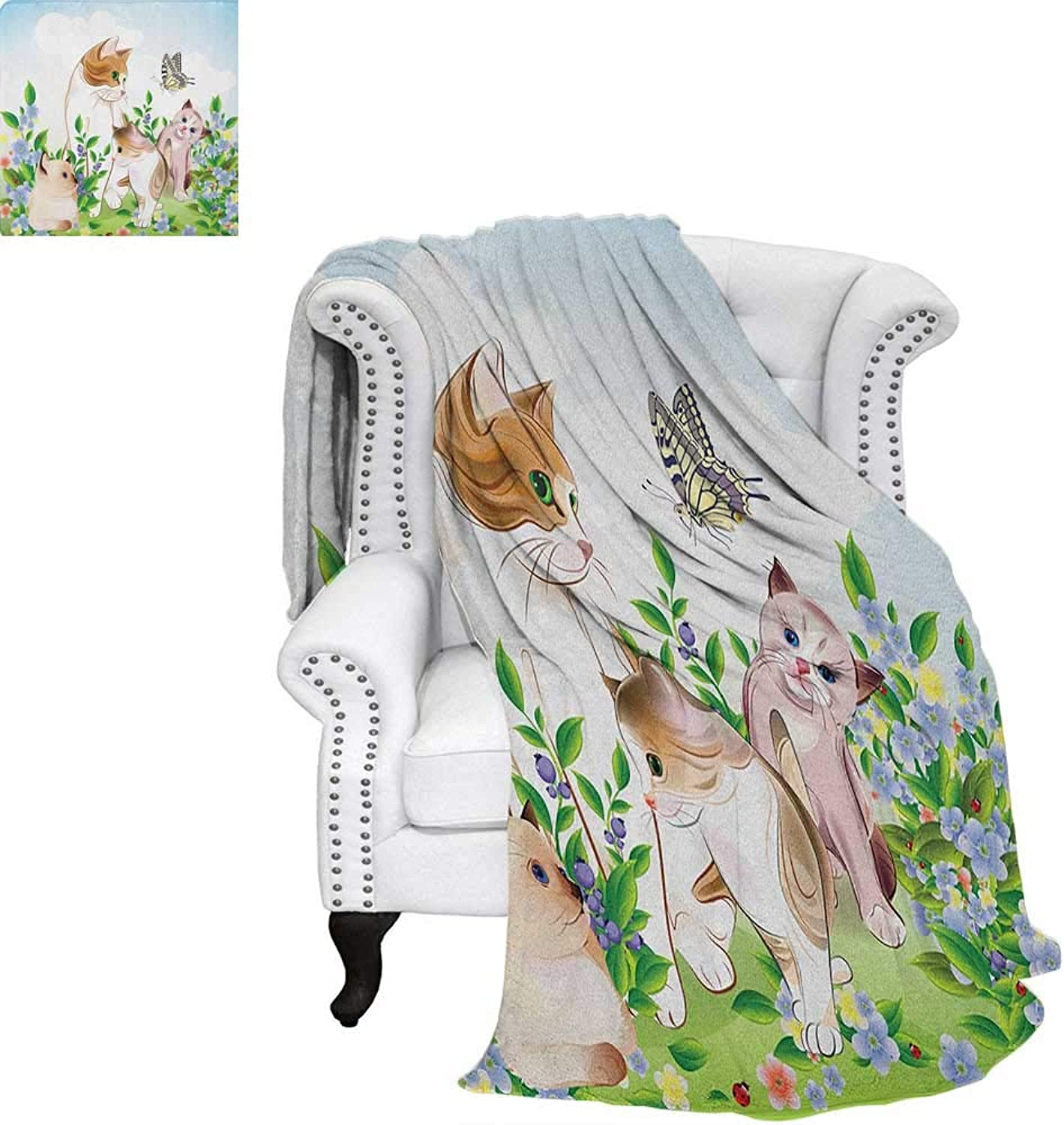 CatFlannel Single Student blanketCute Kittens in Flower Meadow Field Happy Cats Family with Butterfly Kids Cartoon PrintStudent Blanket 60 x50  Multi