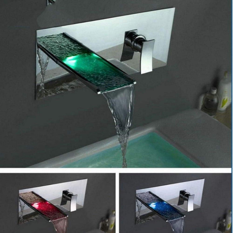 Gorheh Wasserfall Wasserhhne Wandmischer & Armaturen Wasser Power Led Waschtischmischer Chrom Wasserhahn 3 Farben ndern Led Tap