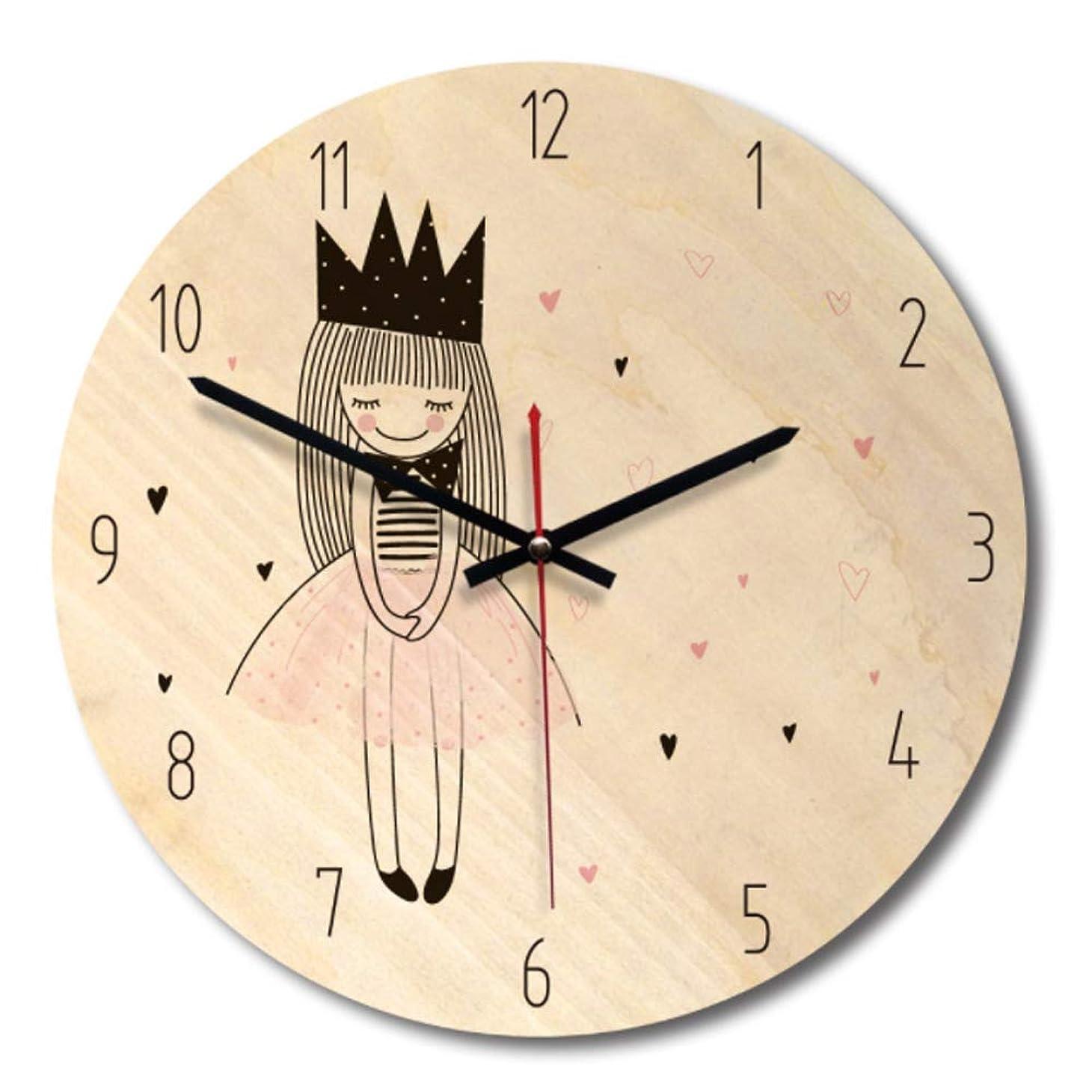 スペイン語隠コロニアル木掛け時計 木製時計 木製 天然木 連続秒針 音無し かわいい 部屋装飾 プレゼント 直径約28cm (A)