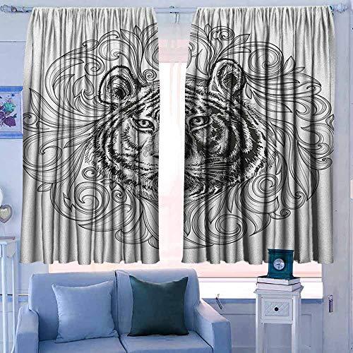 Lovii verduisterende gordijnen staaf Pocket gordijn panelen voor slaapkamer & keuken Tie Dye Tribal Tie Dye Techniek Kunst Featured Odd en gevaarlijke vormen in Symmetrische as Ontwerp Blauw Grijs