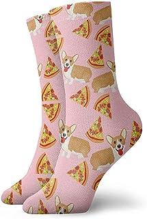 Dydan Tne, Niños Niñas Locos Divertidos Welsh Corgi Pizza Calcetines Vintage Calcetines Lindos de Novedad