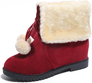 LIM&Shop Women Cute Warm Short Boots Suede Chunky Mid Heel Round Toe Winter Snow Ankle Booties Two Tone Comfortable