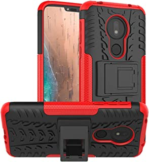 PUSHIMEI Moto G7 Power Case,Moto G7 Supra Case,Moto G7 Optimo Maxx case, with Kickstand Hard PC Back Cover Soft TPU Dual Layer Protection Phone Cover for Motorola Moto G7 Power(Red Kickstand case)