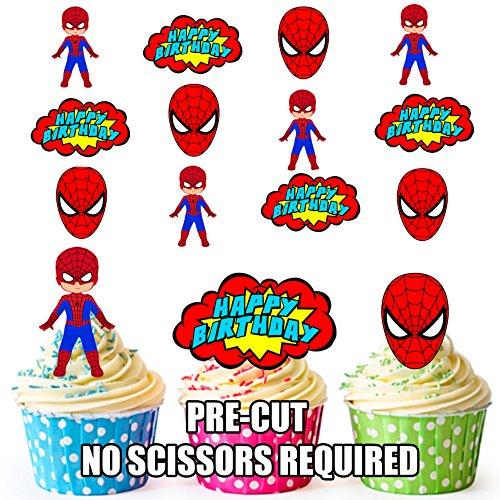 AK Giftshop PRE-CUT Spiderman Superhero Gelukkige Verjaardag Pack - Eetbare Cupcake Toppers/Taart Decoraties (Pak van 12)