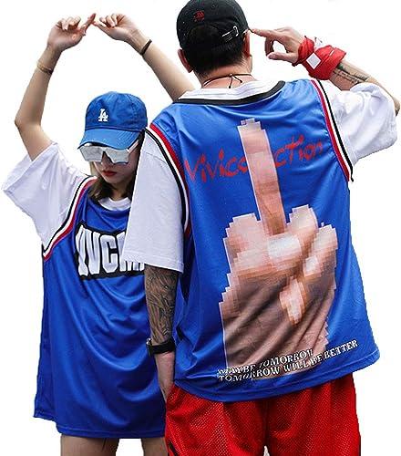 ZRKZ T-Shirt pour Hommes Couple Tee Hip-hop Fake Basketball Deux-Pièces Personnalité De La Mode Couple De Grande Taille à Manches Courtes (M-5XL) bleu-XXXXXL