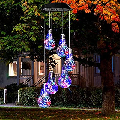 KizmetKare Solar Wind Chime Light - Color Changing Solar Wind Chimes Outdoor Decoration Lights with IP65 Waterproof LED Wind Chime Solar Light for Garden, Patio, Holiday Deco Gift (Bulb)