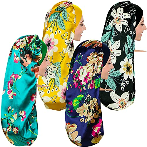 XDRISONY 4 Pcs Long Satin Sleep Cap for Curly Hair and Dreadlock, Extra Large Floral Patterns Sleeping Bonnet for Women/Girls