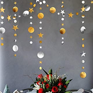 Gold Silver Star and Circle Dot Garland Decorations Metallic Glitter Circle Garlands Streamer Backdrop Glittery Hanging Bu...