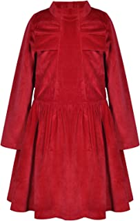 Bonny Billy Girl's Long Sleeve Velvet Winter Holiday Christmas Party Dress with Bow