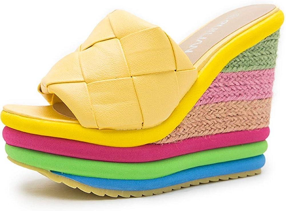 Wedge Sandals for Women, Open Toe High Heel Espadrilles Rainbow Platform Sandals Slides Slippers