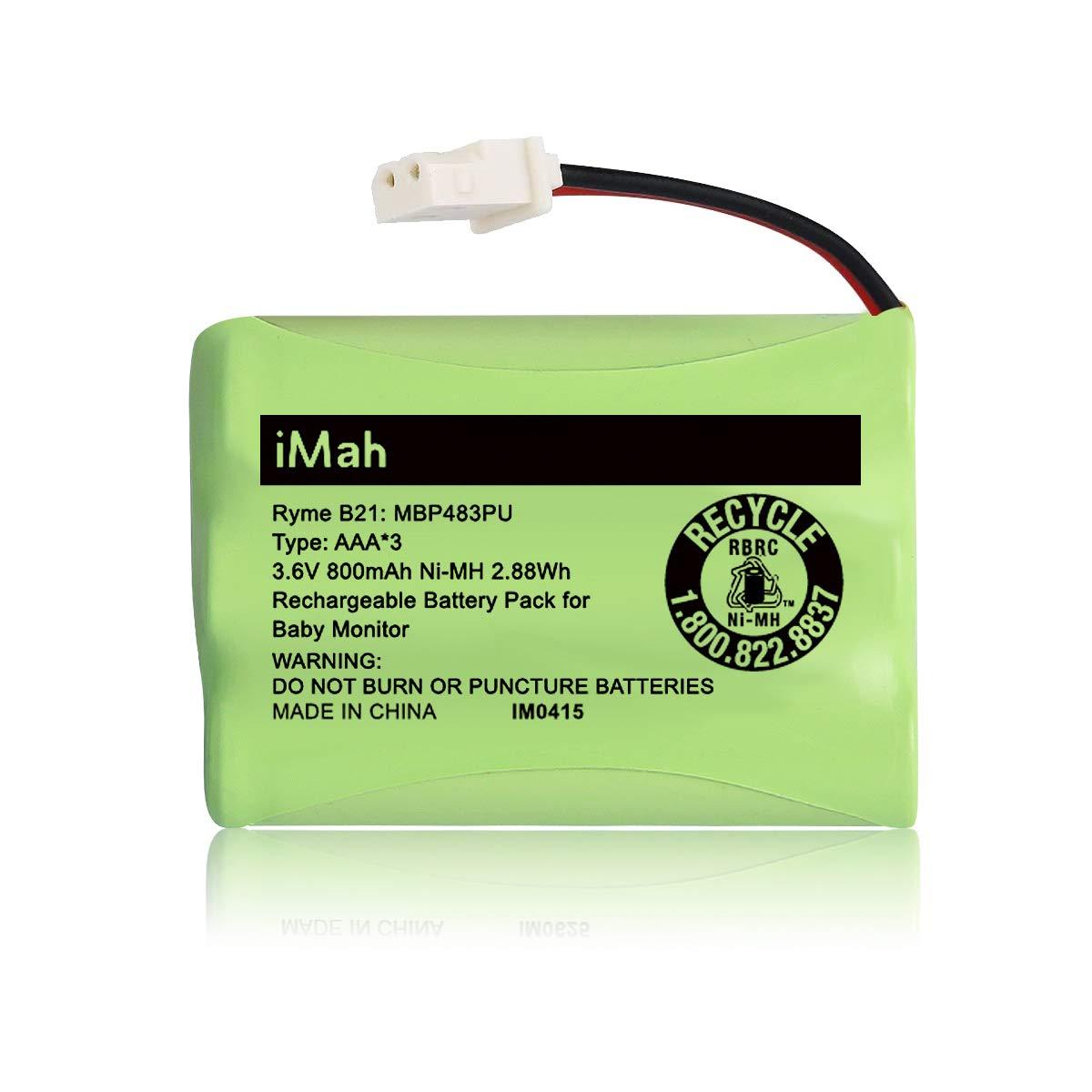 iMah Ryme B21 Battery Compatible with Motorola Baby Monitor MBP33XL (only fits MBP33S MBP36 MBP36S newer 800mAh version) MBP481 MBP482 MBP483 (Don't fit MBP33 MBP33S MBP36 MBP36S older 900mAh version)