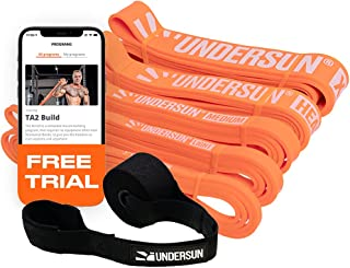 Undersun Fitness Resistance Loop Exercise Bands. Set of 5 Pullup Assistance Workout Bands with Free Week Workout Program &...