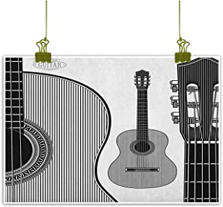 QIAOQIAOLO Retro Oil Painting Guitar Beautifully Decorated Monochrome Design Striped Acoustic Classical Instruments Folk Country Music Concert W47 x L31 Black White